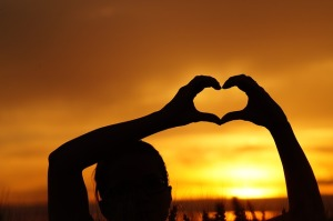 heart - sunset