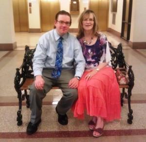 Caleb and Mom at reception
